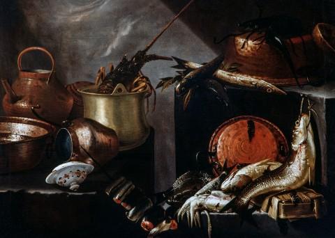 Giovanni Battista Recco, Composizione con pesci e crostacei, olio su tela, 97 x 132 cm. Collezione privata